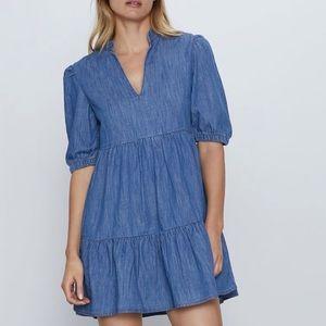 Zara denim mini dress short sleeve NWT v neck